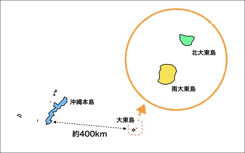 沖縄の離島の地図『大東島』