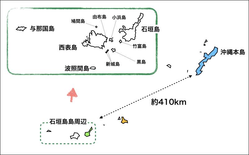 沖縄の離島の地図『石垣島周辺』