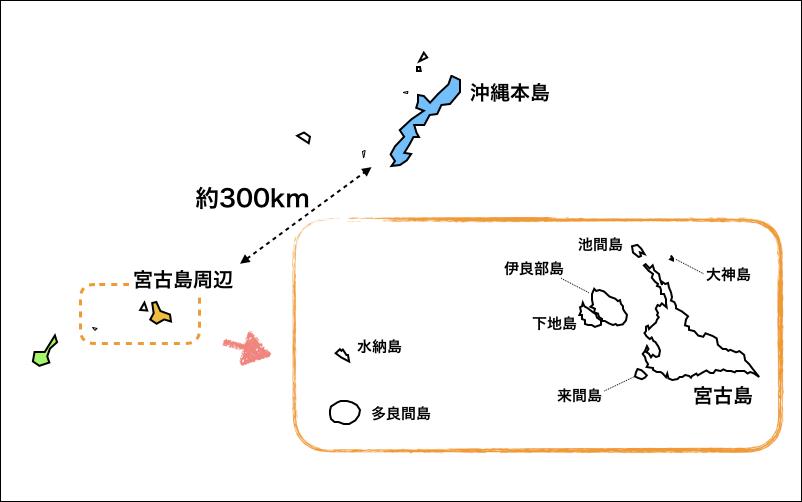 沖縄の離島の地図『宮古島周辺』