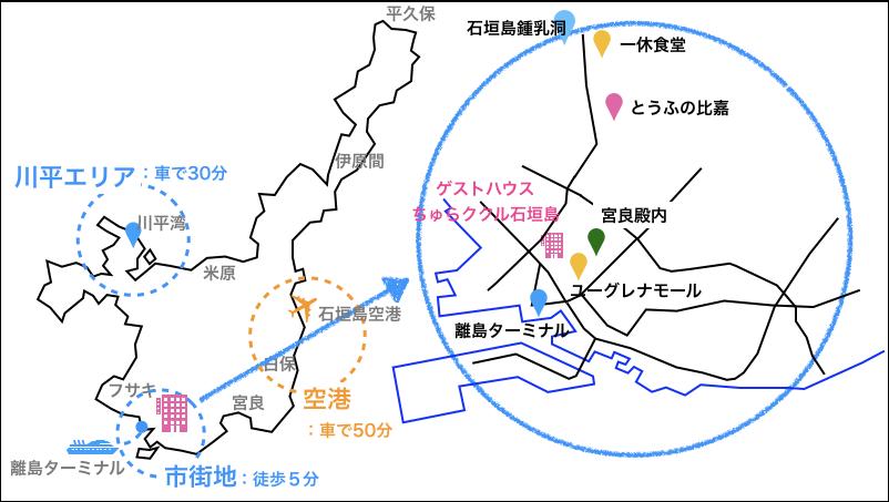 ゲストハウスちゅらククル石垣島,地図