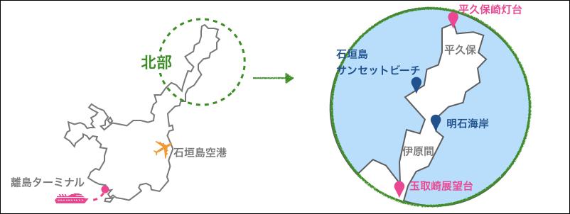 石垣島,北部,地図