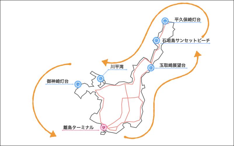 東回りの地図