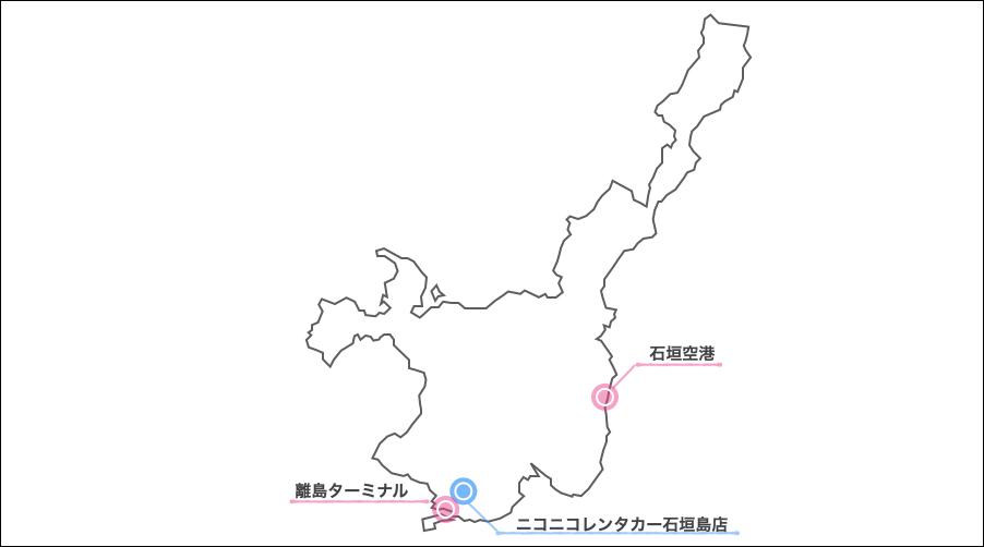 ニコニコレンタカー石垣島,地図