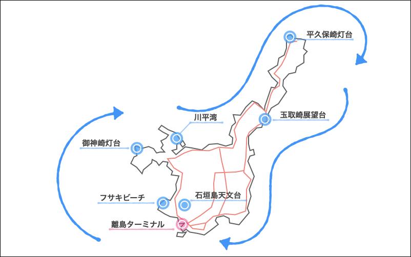西回りの地図