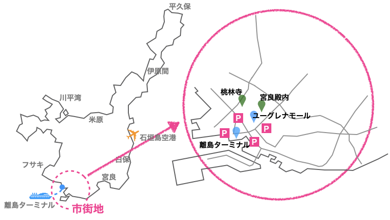 市街地駐車場の地図