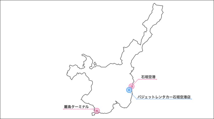 石垣島,バジェットレンタカー,地図