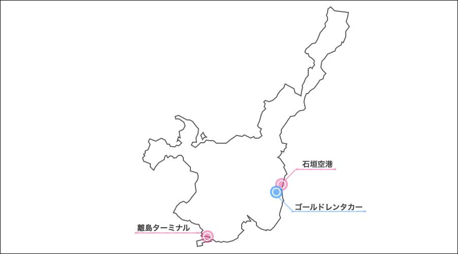 石垣島,ゴールドレンタカー,地図