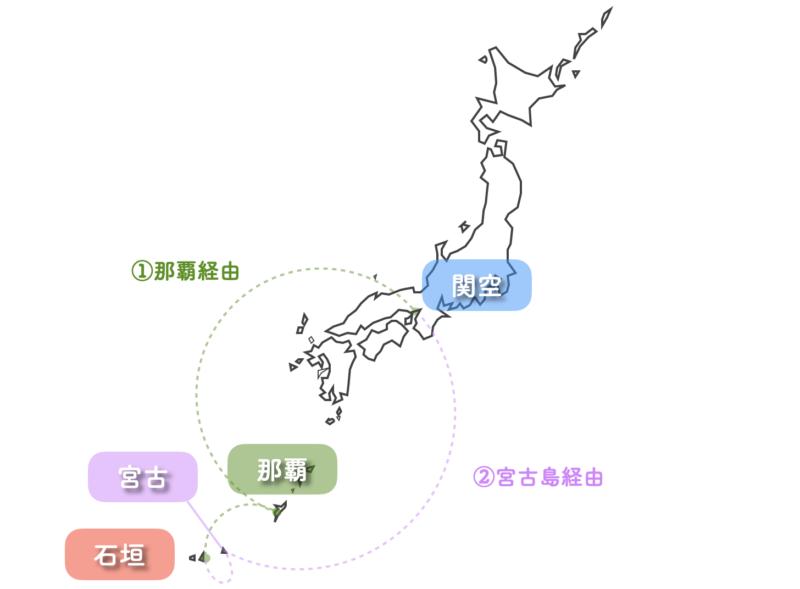 関空 石垣島 乗継便 地図