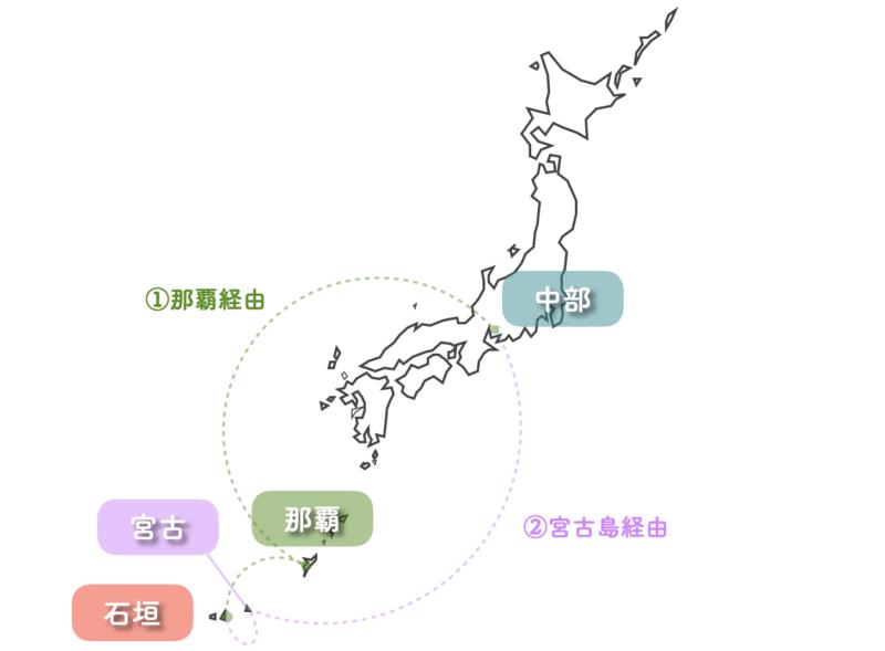 名古屋 石垣島 乗継便 地図