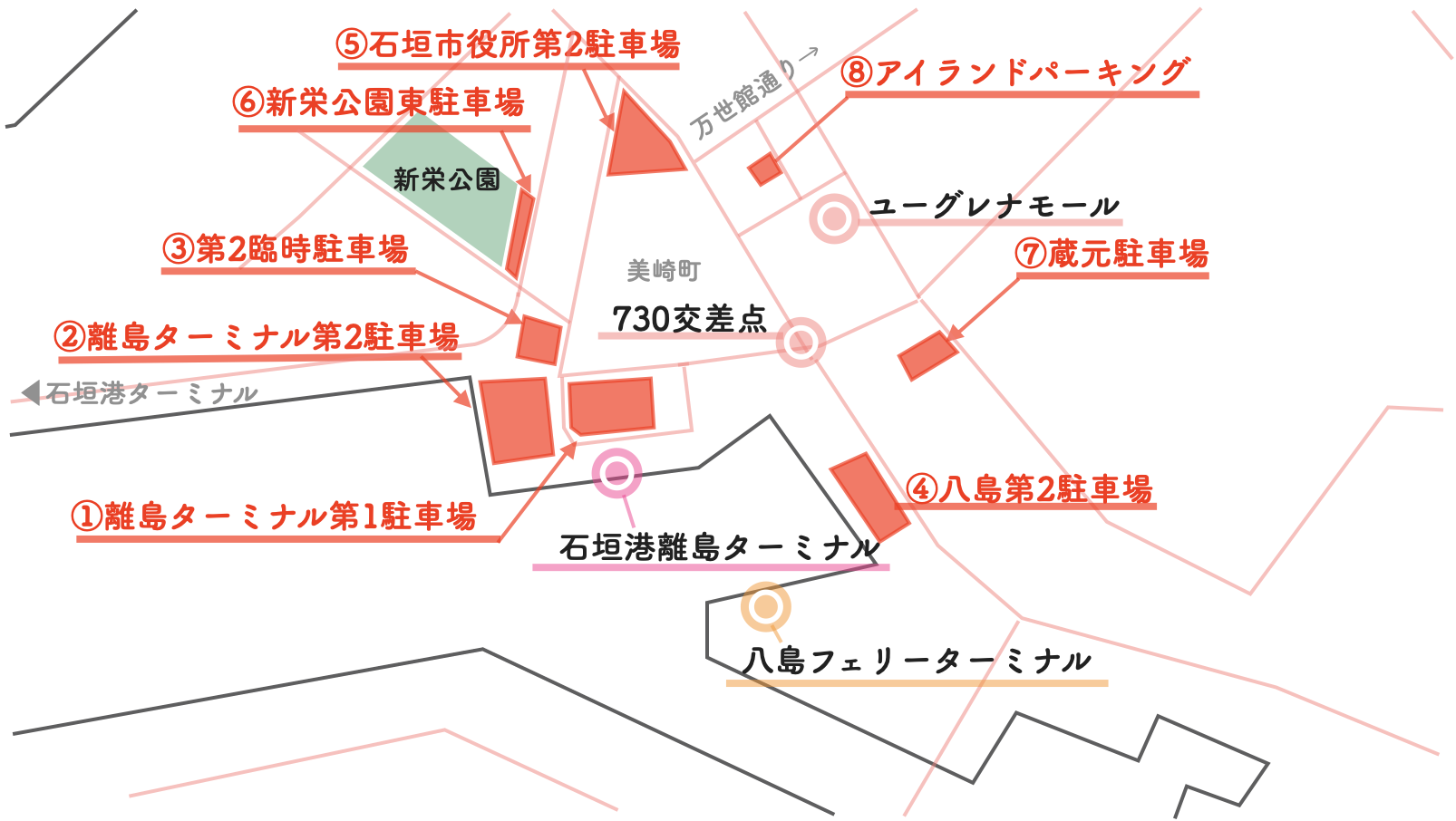 石垣島 市街地 駐車場 地図